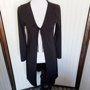 Long sleeve black open tie front cardigan duster